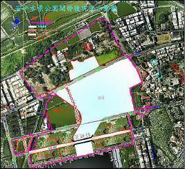 歷史水景公園景觀步道位置示意圖,未來安平路將截斷(紅黑線)連通水域。(記者洪瑞琴翻攝)