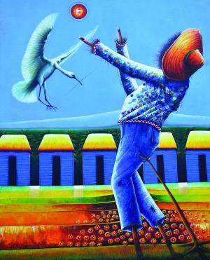 多國著名畫家艾伯特雷斯塔(Don Alberto Lestrad),於今天起在北市內湖八畝園美術館舉行「2009加勒比海畫展」。(圖由八畝園美術館提供)