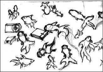 橙果設計師蘇尹曼設計的金魚圖樣手稿。(記者張寧馨翻攝)