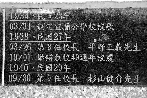 許多學校的校史紀錄,跳脫日治年號與年代,改用西元與民國,校長卻是日本名字,感覺錯亂。(記者游明金攝)