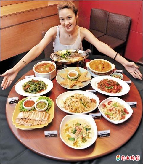 國人最愛十大泰國料理一次上桌,令人食指大動。(記者張嘉明攝)