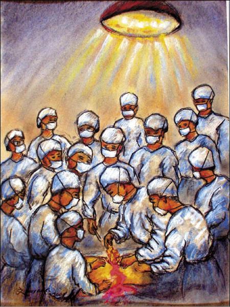 歐陽文畫下自己被關在軍法處時,遭軍醫綁在解剖台,開膛剖肚三度拉出腸子,供醫學院學生觀摩的慘劇。(資料照,歐陽文生前提供)