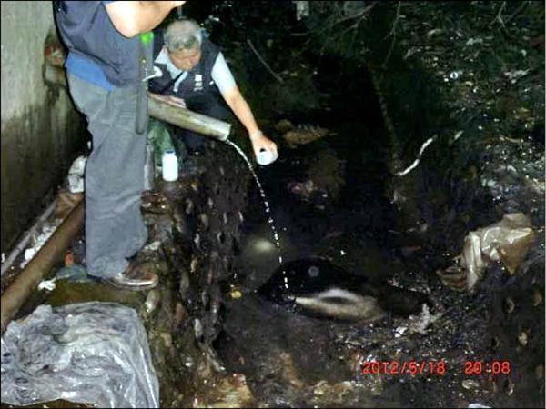 環保局在下雨的夜晚,動員十多名稽查人員,冒雨在觀音工業區進行大規模稽查,圖為稽查人員在廠區的排水口取水檢驗,並且全程錄影蒐證。(記者李容萍翻攝)