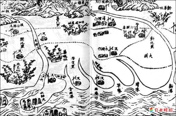 從清代古地圖中,可以清楚看到西港仔和含西港的位置。(記者黃博郎攝)