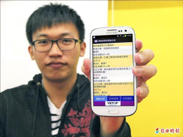 台大哲學系大一學生胡立,推出「得勝者落點分析」App,已在Google Play市集上架。(記者陳炳宏攝)
