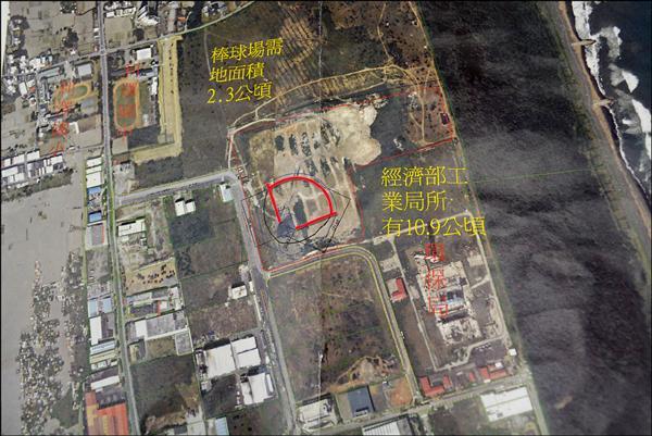 五結鄉規劃最快明年在利澤國中附近舊垃圾掩埋場土地,興建二點三公頃標準型棒球場(紅線區)。(五結鄉公所提供)