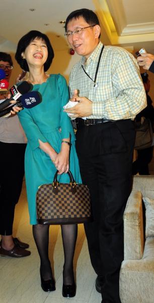 柯文哲和太太陳佩琪鶼鰈情深,陳佩琪雖然不喜歡先生從政,不過還是默默支持,還為他的新書寫序。(資料照)