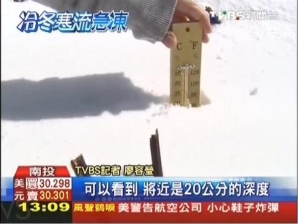 記者隨手一插,深度落在攝氏20度的地方,就稱積雪有20公分。(畫面擷自TVBS)