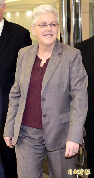 美國環保署署長吉娜.麥卡錫昨晚抵台訪問,她也是十四年來首位訪台的美國內閣首長。(記者姚介修攝)