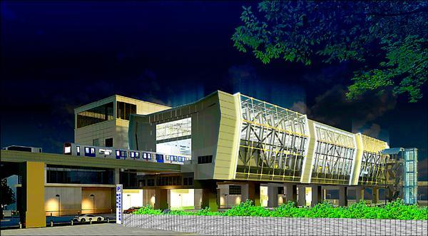 捷運環狀線板橋車站建築物外觀運用大片銀白色的 LED 玻璃帷幕,屋頂設有建物整合型太陽光電 (BIPV) 系統。(圖為建築模擬示意圖,交通局提供)