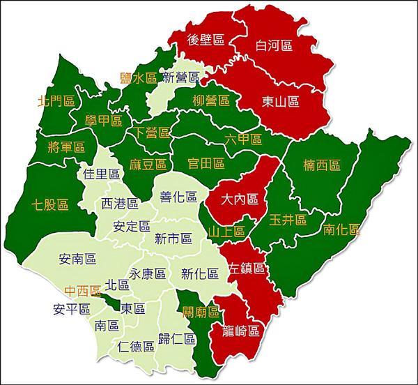 台南市老化地圖,紅色六區為超高齡區,綠色十六區為高齡區。(市議員邱莉莉提供)