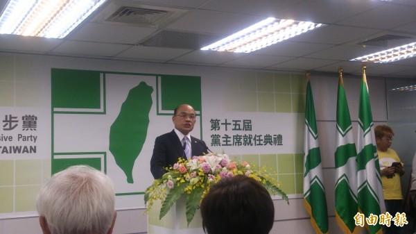蘇貞昌卸任民進黨主席,強調自己雖然交出位置,也卸下責任,但沒有放下對台灣的關心,對支持者的感謝及對黨的期待;放下權位,親近人民,「沒有位子的羈絆,我的時空更寬廣」。(記者陳慧萍攝)
