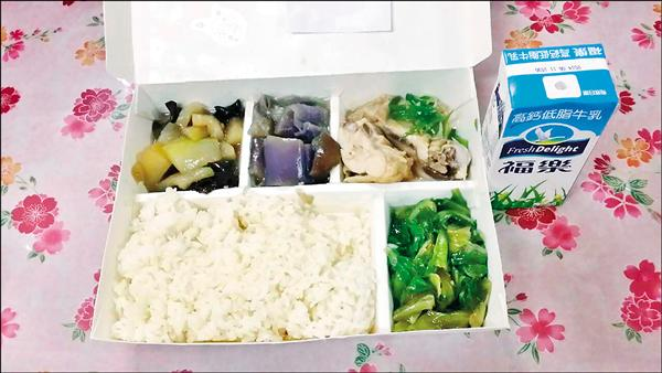 台北市中正區忠勤里「南機場社區關懷據點」的獨居老人晚餐便當提供「青蔥炒雞肉、茄子、蔬菜、冬瓜炒木耳及營養牛乳」。(里長方荷生提供)
