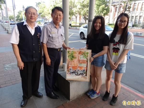 新竹市警局局長張永仰(左二)前往為參賽的治安小天使們加油打氣。(記者蔡彰盛攝)