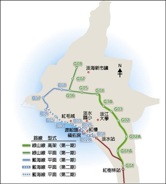 北台灣第一條輕軌路線「淡海輕軌」第一期工程昨天正式開工,施作範圍為綠山線(圖中綠實線部分)與藍海線B06站至漁人碼頭B08站路段,全長約九‧五五公里,預定民國一○七年底完工通車。(新北市交通局提供)