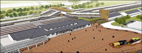 斗南車站跨站工程規劃圖。(縣府提供)