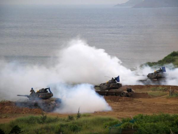 澎湖駐軍每年都在山水海域舉行實彈訓練。(記者劉禹慶攝)