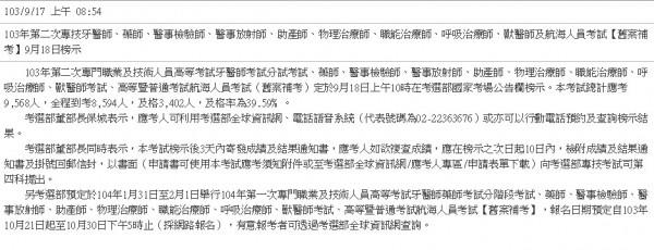 考選部表示,牙醫師等專技高考今天放榜。(圖擷取自中華民國考選部網站)