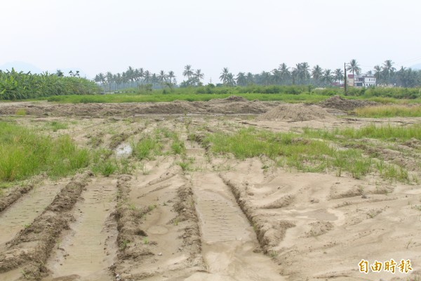 旗山某農地被人以爐石回填,引發居民對水質汙染的疑慮。(記者陳祐誠攝)