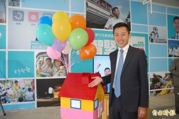 林智堅推出1500戶、每月租金7千的社會住宅政見。(記者蔡彰盛攝)