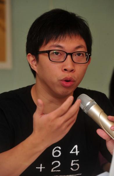 太陽花學運領袖之一的魏揚,稍早在臉書發文,表示不知道今天這個日子與腳下所踩的這塊土地有何關聯?(資料照,記者簡榮豐攝)
