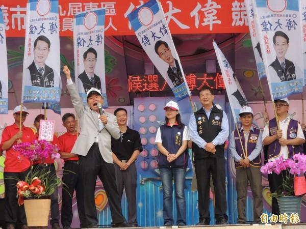 國民黨東區市議員傅大偉競選連任,今上午競選總部成立。(記者王善嬿攝)
