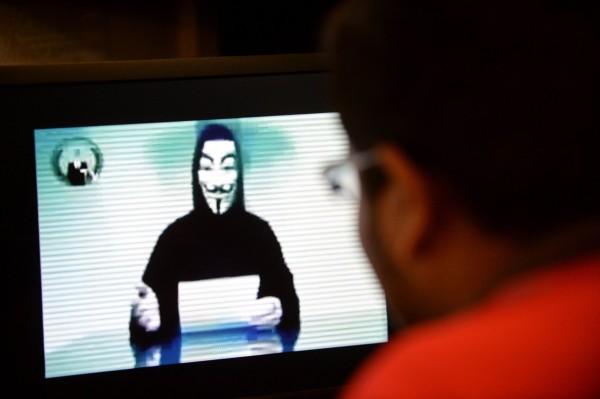 「匿名者」駭客對中國政府宣戰。(法新社)