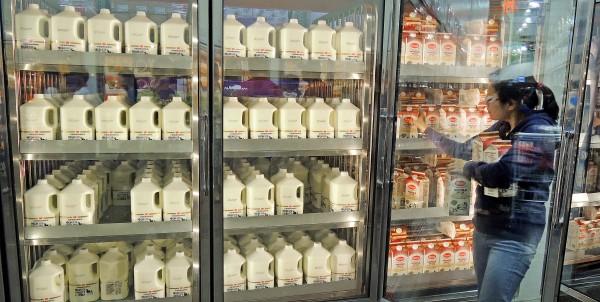 頂新集團油品接連出包,味全商品降價促銷,但消費者不買單。記者11日實地走訪賣場,冰櫃中排滿大批味全林鳳營鮮乳乏人問津,大部分民眾選擇其他品牌鮮乳。(記者劉信德攝)