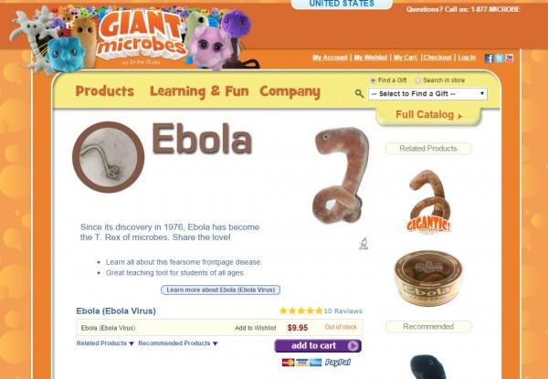 美國網站推出伊波拉病毒玩具,只要9.95美元就可以給別人「伊波拉」。(圖擷取自Giant Microbesis網站)