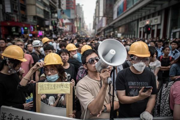 昨日香港人民依然在旺角抗議。(法新社)