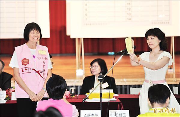 無黨籍台北市長候選人柯文哲由公民顧問團總團長紀政(左)代抽號次,抽到7號,高喊「Lucky 7」!(記者張嘉明攝)