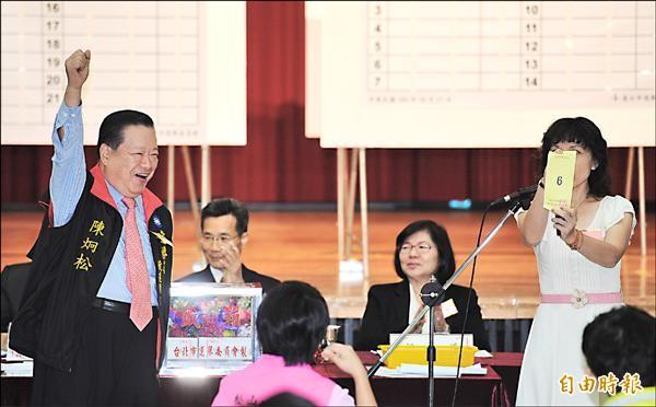 國民黨台北市長候選人連勝文由總部主委陳炯松(左)代為抽籤,抽到6號,高喊「六六大順」!(記者張嘉明攝)