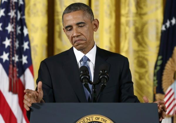 美國總統歐巴馬今天召開記者會,對選民喊話,稱他們的聲音,他已經聽到了。(路透)