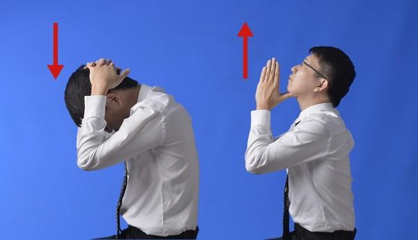 上班族和低頭族容易肩頸卡卡,復健師教你4招搞定。(台北慈濟醫院提供)