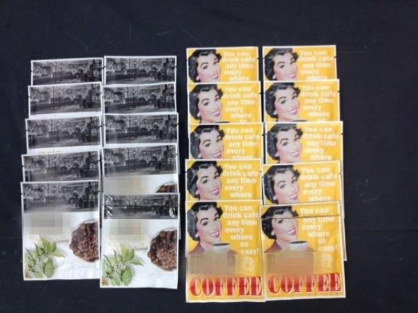 以「瑪麗蓮夢露」為包裝圖像的毒品咖啡包。(記者劉慶侯翻攝)