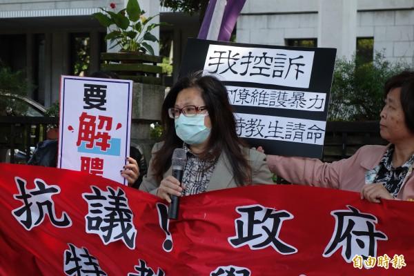 特教生家長蔡媽媽說,孩子早已畢業,是發現台南啟智學校裡還有孩子受虐,才決定站出來將過去孩子受暴過程講出來,避免未來還有學生受害。(記者吳柏軒攝)
