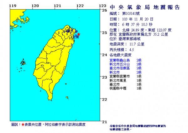今天清晨6點37分,宜蘭外海發生芮氏規模4.5地震。(圖取自中央氣象局網站)