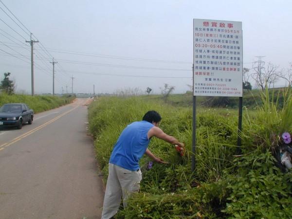 林姓女作業員遭殺害後,家屬在發現屍體的地點豎立告示牌,尋求目擊者提供線索。(資料照,記者吳仁捷)