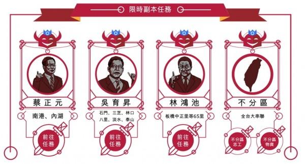 「割闌尾V計畫」將蔡正元、吳育昇與林鴻池視為大魔王。(圖擷取自「割闌尾V計畫」網站)