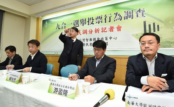 台灣智庫國會政策中心2日舉行「九合一選舉投票行為調查選後民調分析記者會」,由副執行長賴怡忠(中)主持。(記者方賓照攝)