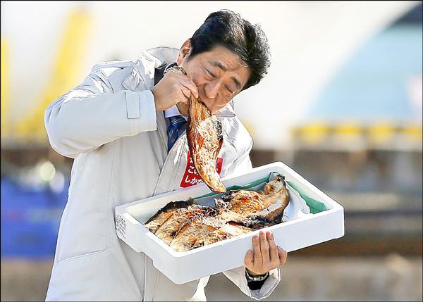 日本眾議院大選二日正式起跑,首相安倍晉三選在福島縣相馬市誓師,並在港邊大啃烤魚乾,為當地漁產安全掛保證。(路透)