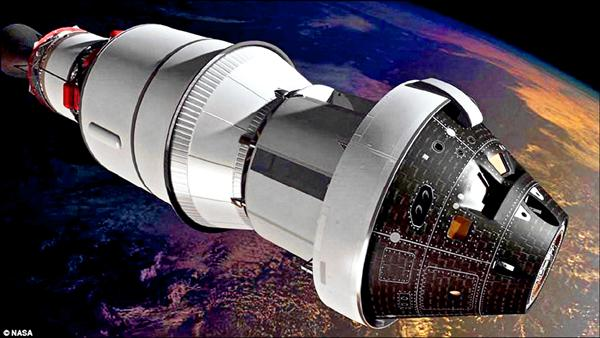 圖為獵戶座太空船在地球軌道運行想像圖。(取自NASA網站)