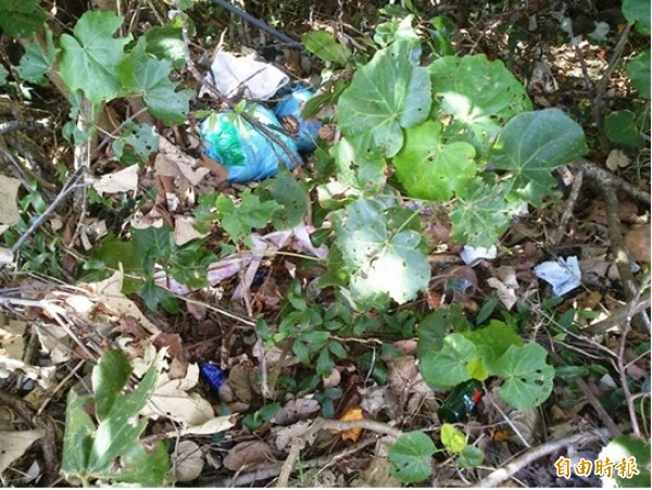 環保團體今年11月底走訪墾丁,居然發現北市專用垃圾袋出現在路旁的樹叢裡,呼籲墾丁國家公園管理處重視。(圖由環保媽媽基金會提供)