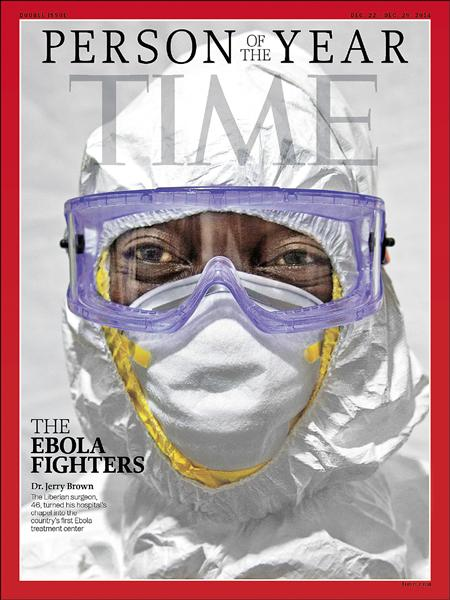 美國時代雜誌二○一四年度風雲人物十日揭曉,由捨己救人的「伊波拉戰士們」獲此殊榮。(法新社)