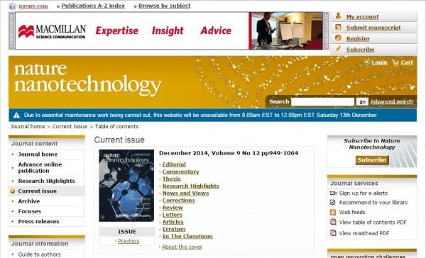 科技部代理部長林一平今證實,刊登交大教授黃國華「用DNA聚合酶為基因定序」論文的國際頂尖期刊《自然奈米》(Nature Nanotechnology)日前已回信科技部,表示將撤下黃國華的論文,也取得黃的同意。(圖擷取自期刊網頁)