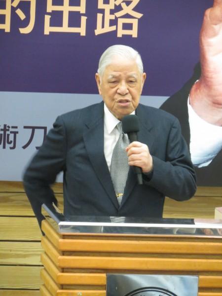 李登輝:馬英九已經成為這個國家進步的阻礙。(記者蘇孟娟攝)