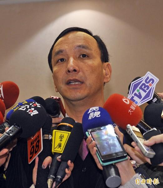 即將擔任國民黨主席的新北市長朱立倫面對黨產議題時,強調不當黨產要歸零。(記者賴筱桐攝)