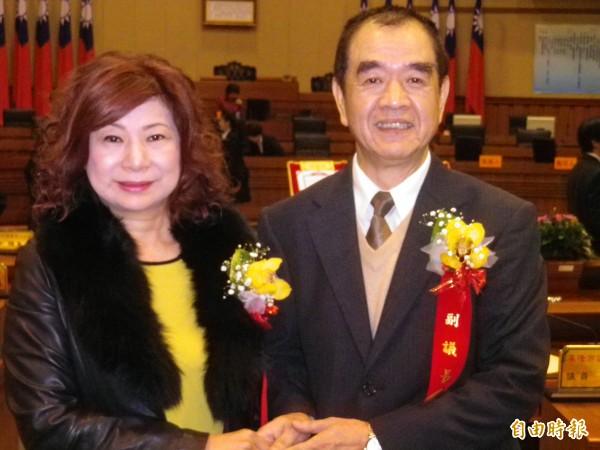 宋瑋莉(左)和蔡旺璉獲選基隆市議長、副議長。(記者盧賢秀攝)