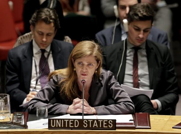 聯合國安理會今天就要求以色列結束對巴勒斯坦佔領的草案進行投票,美國駐聯合國大使鮑爾(圖中)表態反對,草案未獲通過。(歐新社)