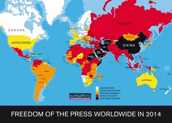 阿拉伯世界中大多數國家仍被視為新聞自由「受嚴重壓迫」等級,其中又以敘利亞最為嚴重。(圖擷取自《Reporters Without Borders》)